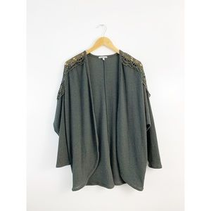 Charlotte Russe Open Green Lace Shoulder Cardigan